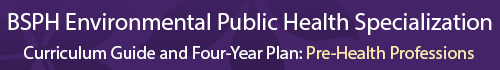 Environmental Public Health Specialization Curriculum Guide and four year plan- Pre-health professions