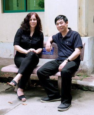 Maria Gallo, PhD, with research study collaborator Nghia Nguyen, MD, PhD, in Vietnam.