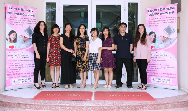 Maria Gallo, PhD, with members of the research team in front of the Reproductive Health Center in Thanh Hoa, Vietnam.