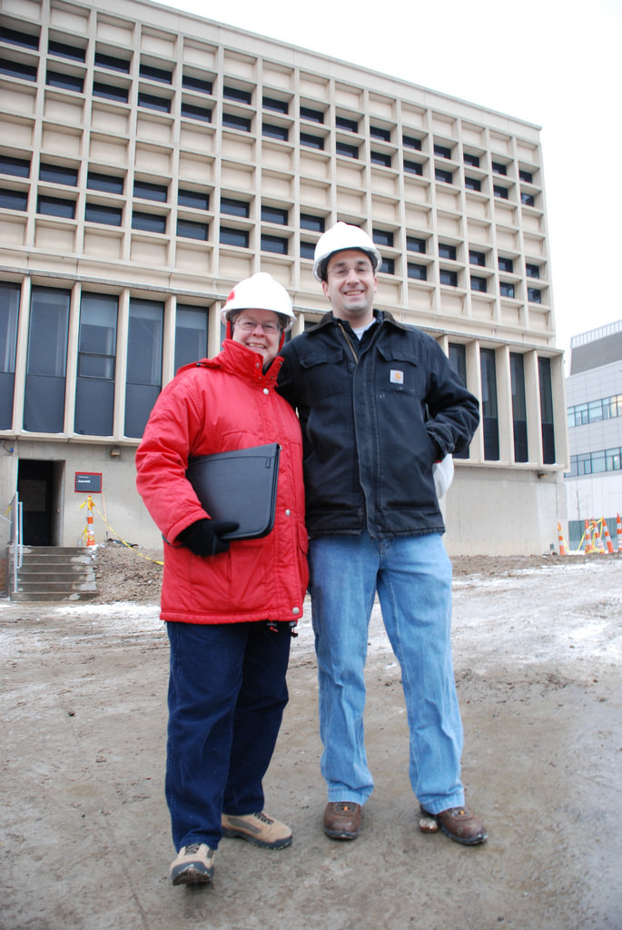 Shymanski and Watts in front of Cunz Hall under renovation