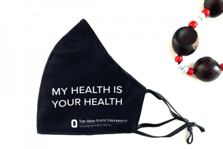 """mask with """"My Health is Your Health"""" and CPH logo printed on it"""